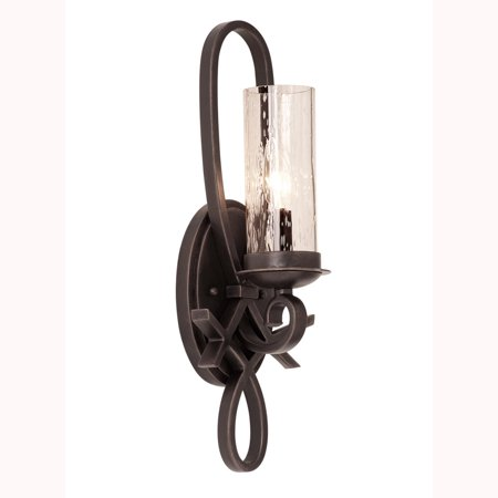 Wall Sconces 1 Light With Black Finish Hand Forged Iron and Seeded Glass E12 7 inch 60 Watts