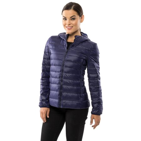 Alpine Swiss Womens Hooded Down Jacket Puffer Bubble Coat Packable Light -