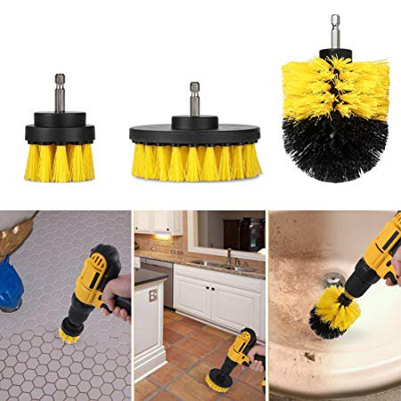 All Purpose Drill Brush Attachment Set .3 Different types of brushes .Easy fit for any drill .Cleans almost all surfaces .scrub your floor, toilet, bathtub,