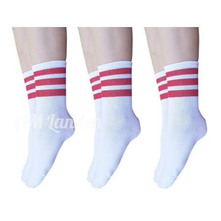 AM Landen Super Cute Women's 3 pairs White with Red Ankle Striped Socks Women's Crew Socks (Red White Stripe Socks)
