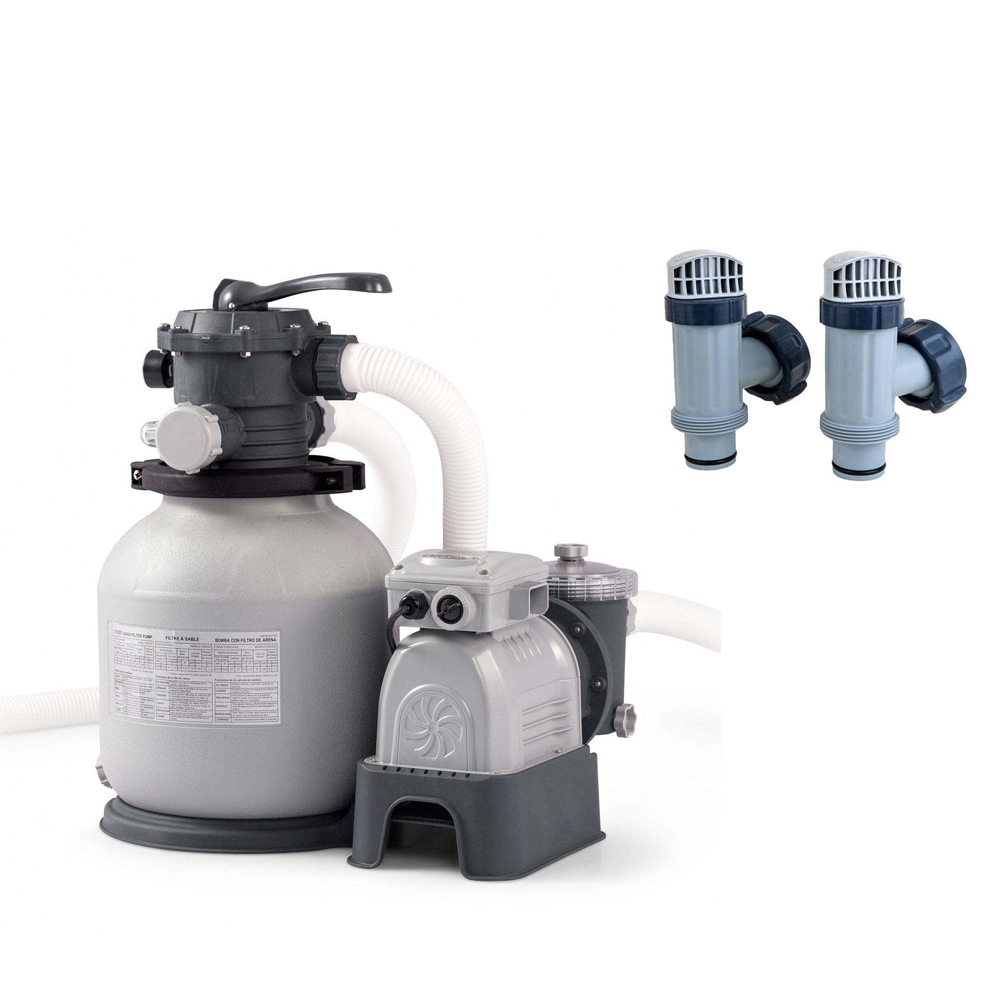 Intex Above Ground Plunger Valves w/ Gaskets & Nuts (2 Pack) & Sand Filter Pump