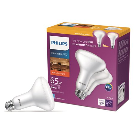 Philips 65-Watt Equivalent with Warm Glow BR30 Dimmable LED ENERGY STAR Light Bulb, Soft White (3-Pack) ()