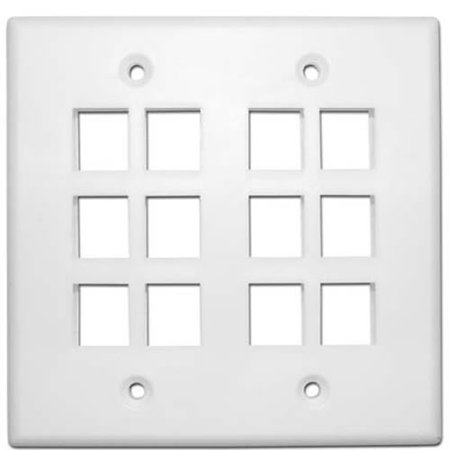 Skywalker Signature Series Keystone Wall Plate for 12 Jacks, Double Gang, White