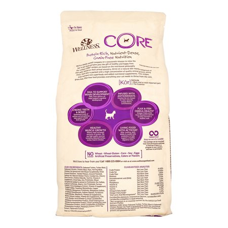 Wellness CORE Grain Free Kitten Deboned Turkey, Turkey Meal & Deboned Chicken Natural Dry Kitten Food, 5 Lb