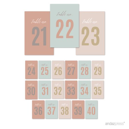 signature rustic pastels party table numbers 21 40 4x6 inch 1 set