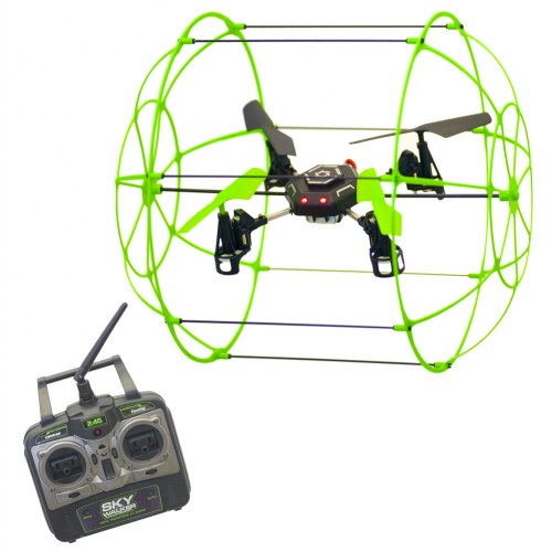 Sky Runner Quadcopter Aerocraft. 2.4 GHz Caged Drone that Runs Along Floors, Ceilings,... by Mukikim
