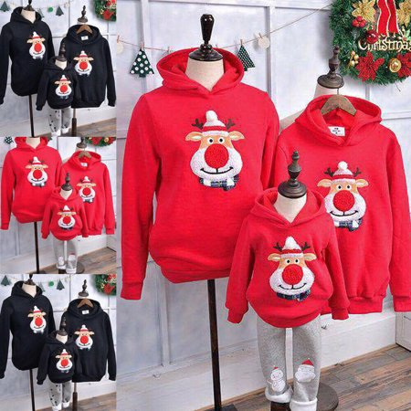 XIAXAIXU Christmas Kids Mom Dad Hoodie Pullover Sweatshirt Jumper Family Matching Top ()
