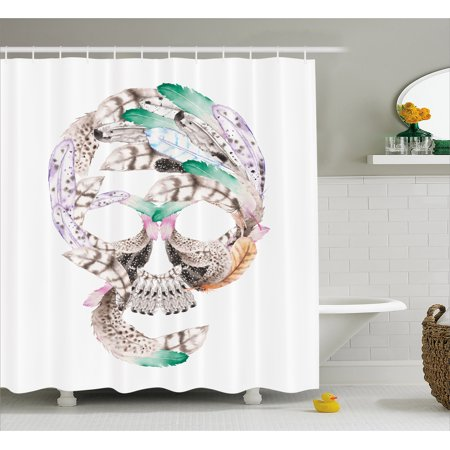 Feather Shower Curtain Human Skull Figure With Watercolor Feathers Hand Drawn Native Abstract Artistic