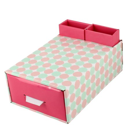 Unique Bargains Home Paper Dot Pattern DIY Foldable Book Holder Container Storage Box Case Red - Red Dot Store Perth