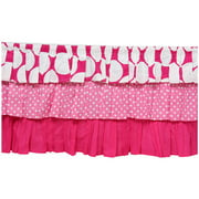 Bacati - MixNMatch Dots 3-Layer with 100% Cotton Percale 13 inch drop Crib/Toddler Dust Ruffle, Pink