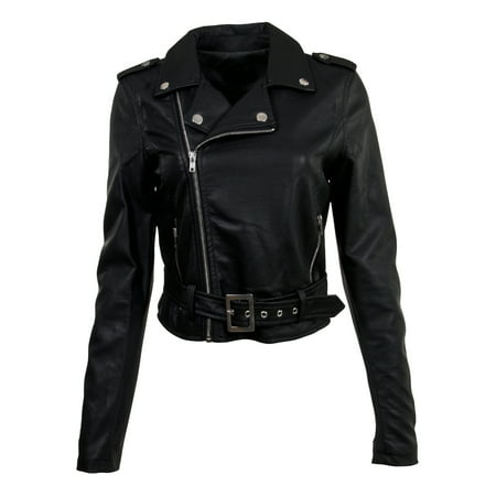 Cropped Faux Leather Jacket (Women's Juniors Fashionable Cropped Faux Leather Moto Biker)