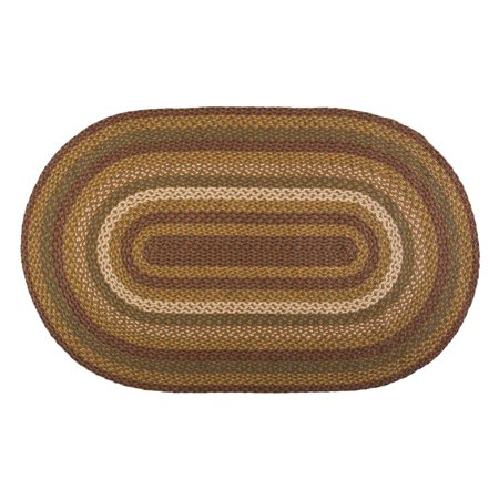 Moss Green Burgundy Rustic & Lodge Primitive Farmhouse Flooring Kilton Braided Jute Oval Accent Area Entry Rug - Light Green Multi Rug