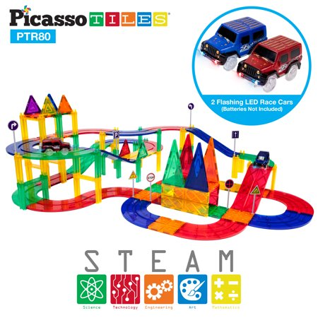 PicassoTiles 80 Piece Race Car Track Building Block Educational Toy Set Magnetic Tiles Magnet DIY Playset 2 Light Up Car STEM Learning Construction Kit Hand-Eye Coordination Fine Motor Skill PTR80 (Day Cab Kits)
