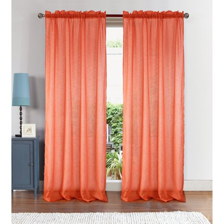 Astro Textured 54 x 90 in. Rod Pocket Curtain Panel, Coral