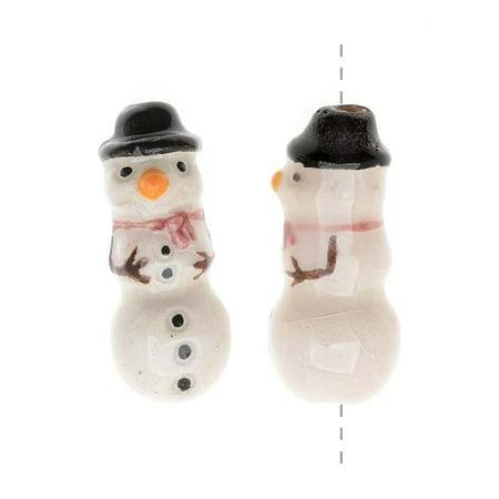 Glazed Ceramic Bead - Tiny Snowman With Black Hat 8x20mm (2)