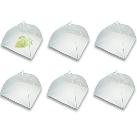 Mesh Screen Food Cover Tents - Set of 6 Large Galvanized Steel Wire Pop-Up Tents, Stylishly and Conveniently Keeps Bugs Away From Food by Chuzy Chef](Picnic Food Covers)