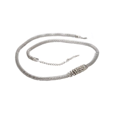 Womens Belt Snake Shape Pendant Metallic Waist Chain Belt Silver Tone 32