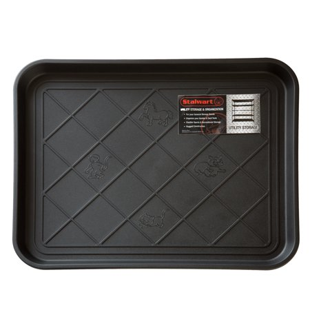 All Weather Boot Tray - Water Resistant Plastic Utility Shoe Mat for Indoor and Outdoor Use in All Seasons by Stalwart (Black)