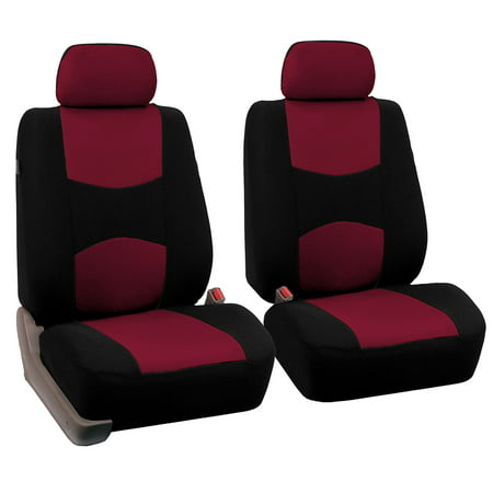 Universal Bucket Seat Cover - FH Group Universal Flat Cloth Bucket Seat Cover, 2 Pack, Burgundy and Black