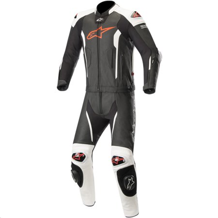 Alpinestars Missile Two-Piece Leather Suit Black/Red/White Fluorescent (Black, 40)