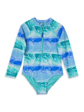Wonder Nation Girls 4-18 & Plus Long Sleeve Swim Shirt Rashguard One-Piece Swimsuit