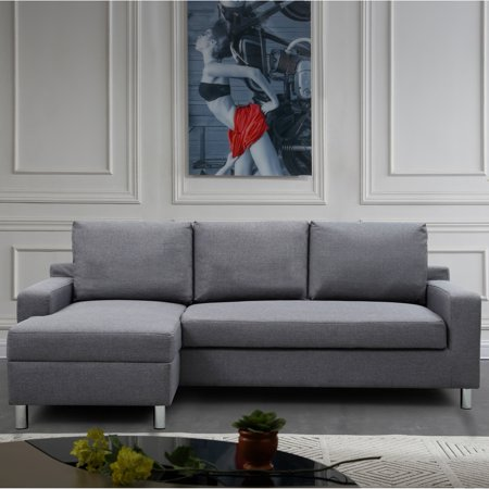 Us pride furniture hampton sleeper left facing sectional for Walmart grey sectional sofa