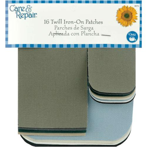 Twill Iron On Patches 16/Pkg-Assorted Colors
