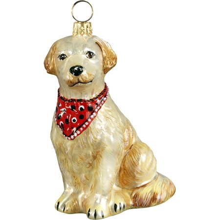 golden retriever with bandana dog polish blown glass christmas ornament poland