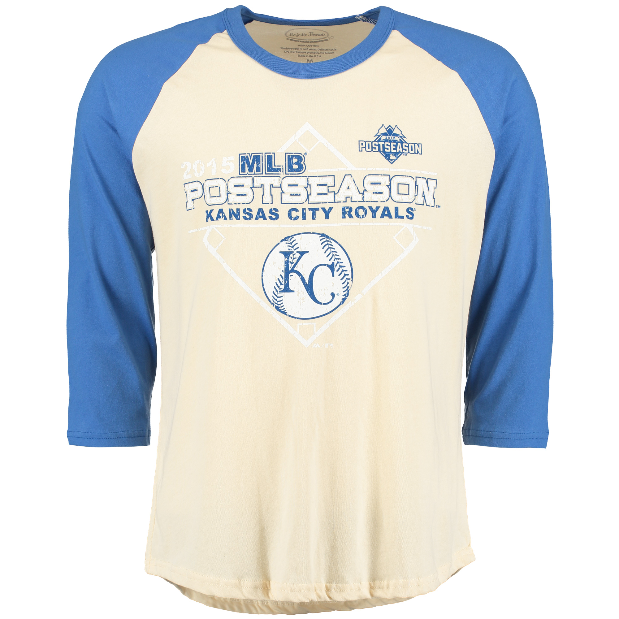 Kansas City Royals Majestic Threads 2015 Postseason Baseball Premium Raglan - Royal