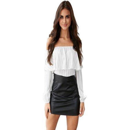 68bd1943add Fashion Women Off Shoulder Tops Long Sleeve Shirt Casual Blouse Loose T- shirt - Walmart.com