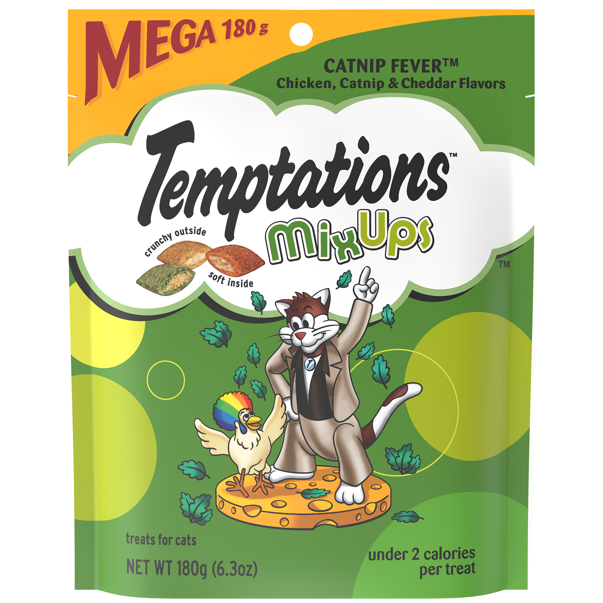 TEMPTATIONS MixUps Treats for Cats CATNIP FEVER Flavor, 6.3 oz. Pouch