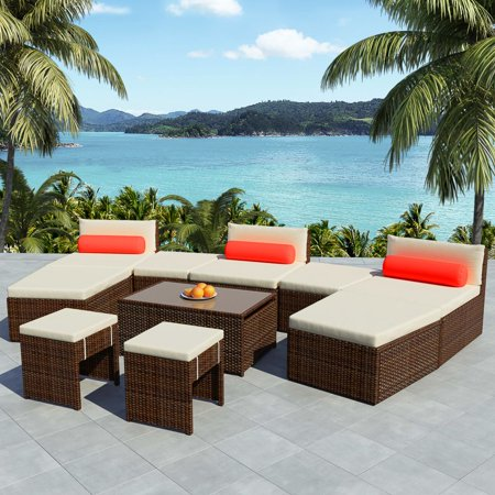 Modular Garden Lounge Set 25 Pieces Poly Rattan Brown ()