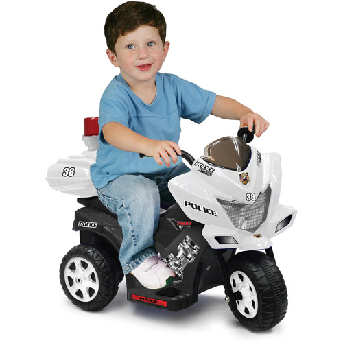 Kid Motorz Lil Patrol 6-Volt Battery-Operated Ride-On, Black/White