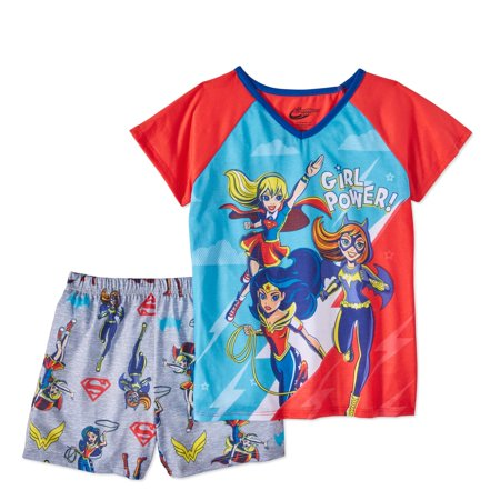DC Superhero Girls' 2pc Pajama Short Set (Girls Sleepwear)