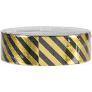 Love My Tapes Foil Washi Tape 15mmx10m-Gold Black Stripes