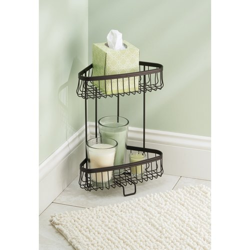Interdesign york lyra or bathroom standing free shower - Free standing corner bathroom shelves ...