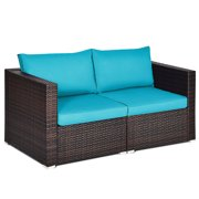 Topbuy 2-Piece Patio Wicker Corner Sofa Set Rattan Loveseat with Removable Cushions Red