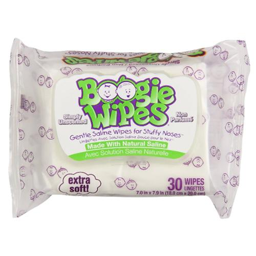 Boogie Wipes Gentle for Stuffy Noses, Simply Unscented 30 Each (Pack of 2)