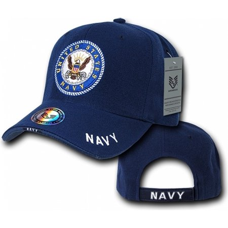 RapDom US Navy The Legend Military Mens Cap [Navy Blue - Adjustable] - Dark Bald Cap