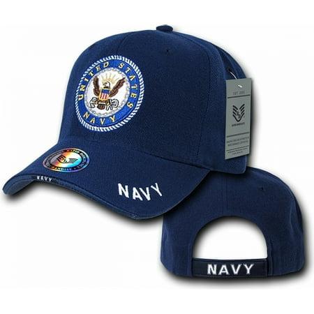 RapDom US Navy The Legend Military Mens Cap [Navy Blue - Adjustable]](Dark Bald Cap)
