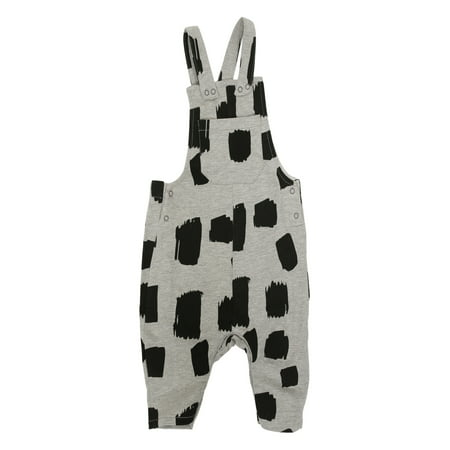 6 Sticks Baby Boy Square Print Knit Overalls - Chucky Overalls For Toddlers