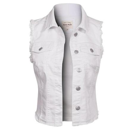 Made by Olivia Women's Frayed Hem Casual Hi-Low Pocket Denim Vest White 2XL