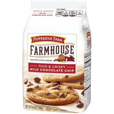 (2 Pack) Pepperidge Farm Farmhouse Thin & Crispy Milk Chocolate Chip Cookies, 6.9 oz. Bag
