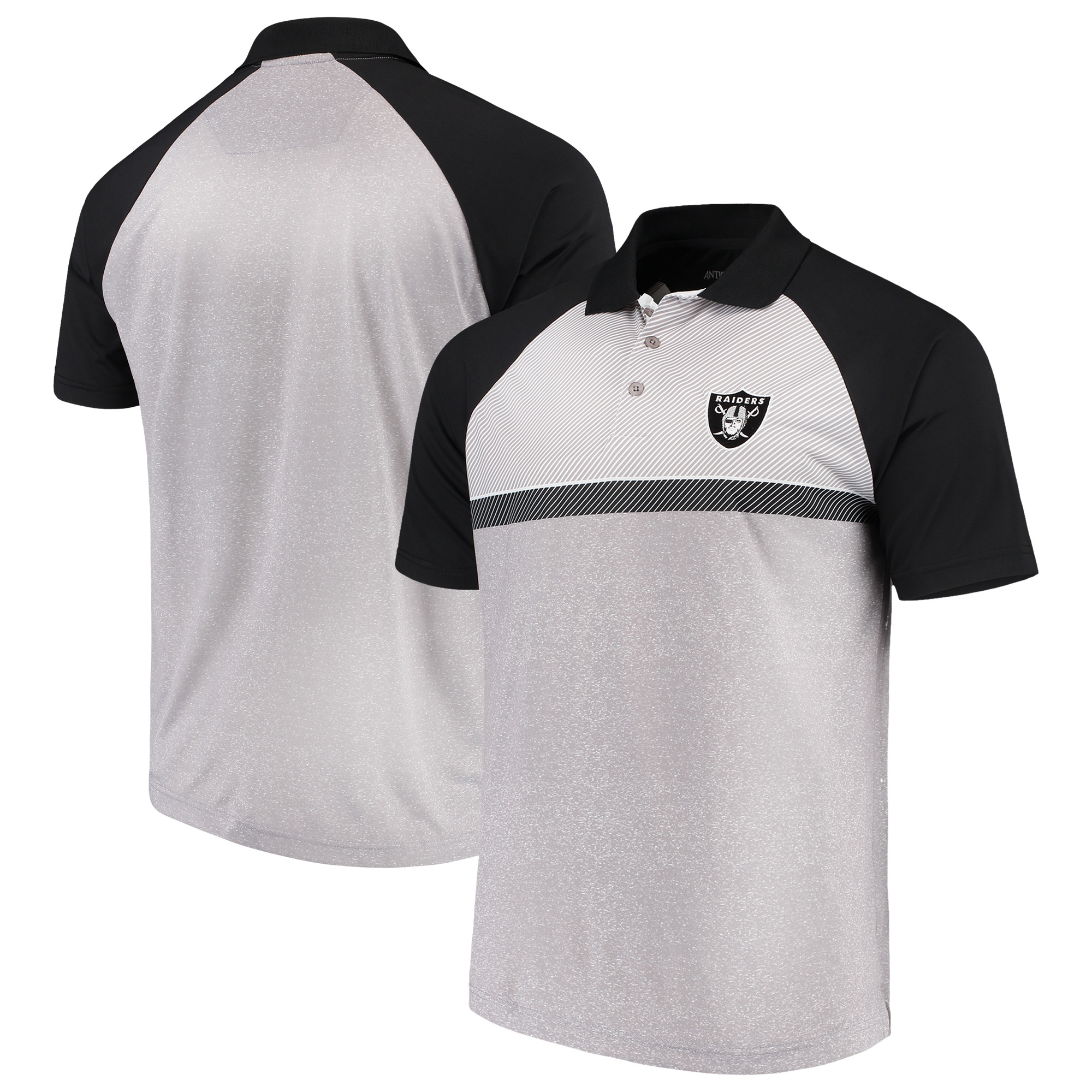 Oakland Raiders Antigua Momentum Polo - Gray/Black