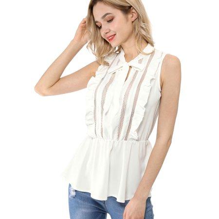 Women's Lace Sleeveless Tops Ruffle Tie Neck Sheer Mesh Peplum Shirt White S - image 6 de 6