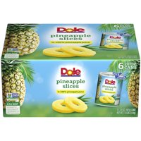 Dole Pineapple Slices in 100% Pineapple Juice, Canned Pineapple, 20 Oz, 6 Pack