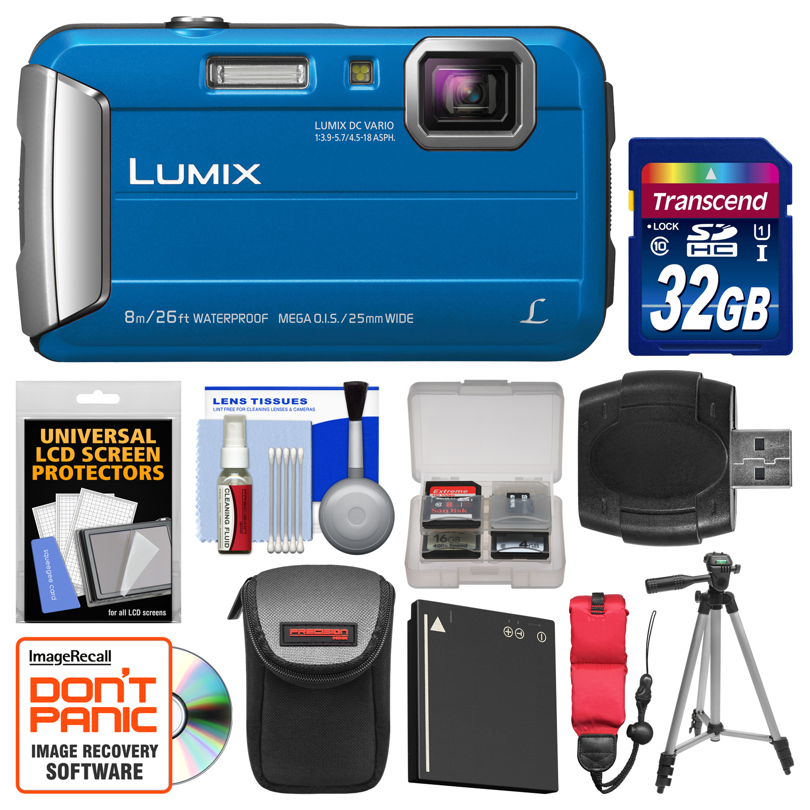 Panasonic Lumix DMC-TS30 Tough Shock & Waterproof Digital Camera (Blue) with 32GB Card +