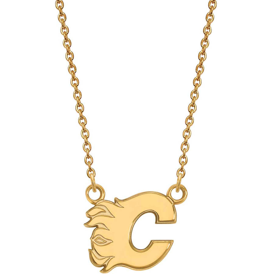 LogoArt NHL Calgary Flames 14kt Gold-Plated Sterling Silver Small Pendant with Necklace