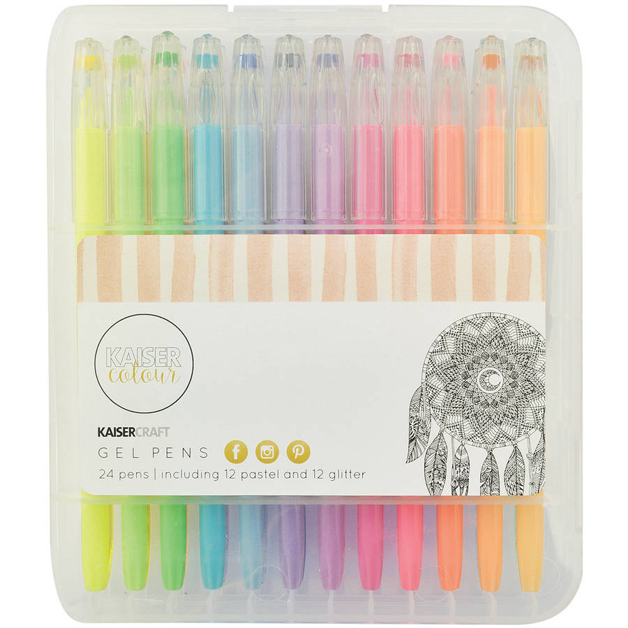 KaiserColour Gel Pens, 24pk, 12 Pastel Colors and 12 Glitter Colors