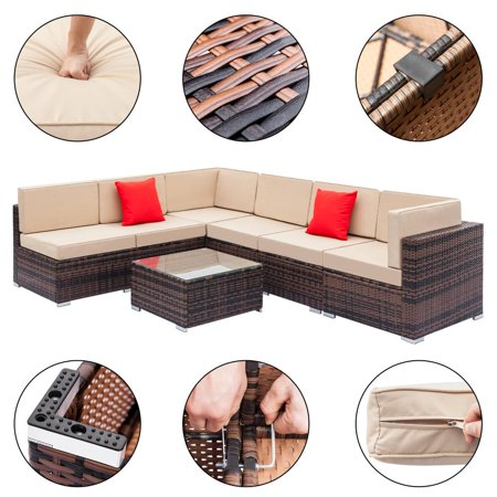 Zimtown 7pcs Outdoor Patio Garden Rattan Wicker Furniture Rattan Sofa Set with Beige Cushions ()
